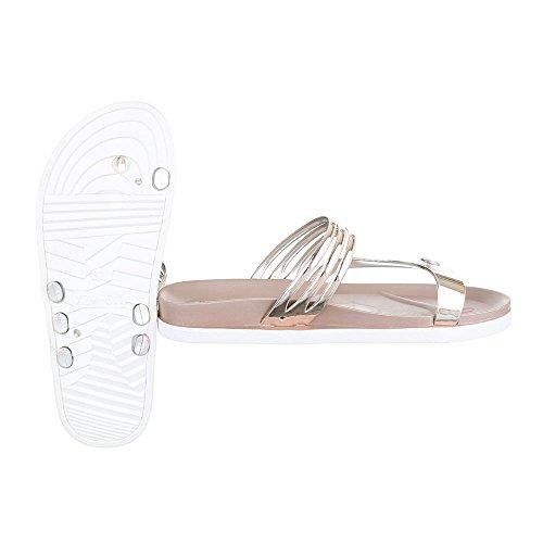 Ital-Design , Escarpins peep-toe femme Doré/rose