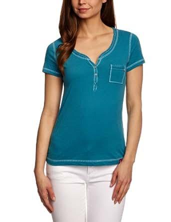 edc by Esprit Damen Schlichte Ausführung T-Shirt Gr. M, Blau - Summer Petrol