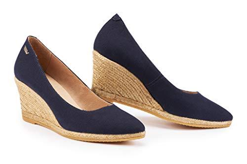 VISCATA - espadrillas con tacco 7 cm, stile elegante, morbida tela, slip-on., blu (Navy), 39 EU