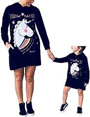 Vestidos Madre e Hija Iguales de Fiesta Manga Larga Impresión Unicornio para Niños Bebés Familias Ropa Vestido
