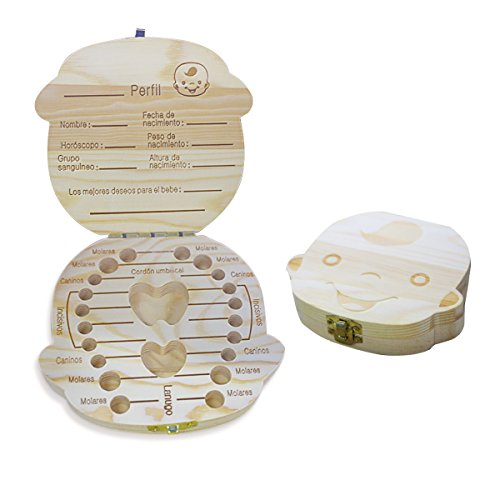 Spanish texto bebé dientes caja, Aitsite save cajas de madera personalizada caja de recuerdos de hoja...