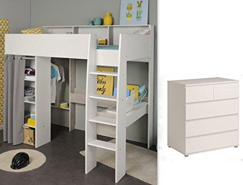 expendio Jugendzimmer Tomke 13 weiß 205x193x132 cm Bett Hochbett mit Schreibtisch Kinderbett Kommode - Loft Bett Mit Schreibtisch