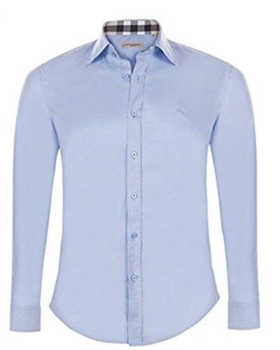 BURBERRY Herren Freizeit-Hemd, einfarbig Mehrfarbig himmelblau M