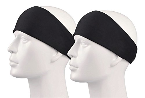 KSS Unisex Stirnband für Jogging Radfahren Badminton Wandern - Sport Schweißband Cooles Design (Schwarz 2X)