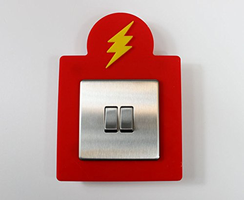 flash-style-single-light-switch-socket-acrylic-surround-colour-kids-room-3d-design-yellow-on-mid-red