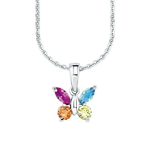 Amor Kinder-Kette längenverstellbar Mädchen mit Anhänger Schmetterling 925 Sterling Silber Zirkonia bunt mehrfarbig 35 + 3 cm