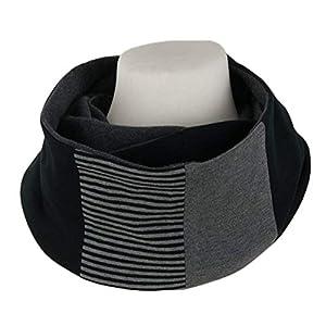 Edler Jersey Loopschal schwarz grau gestreift - Unisex