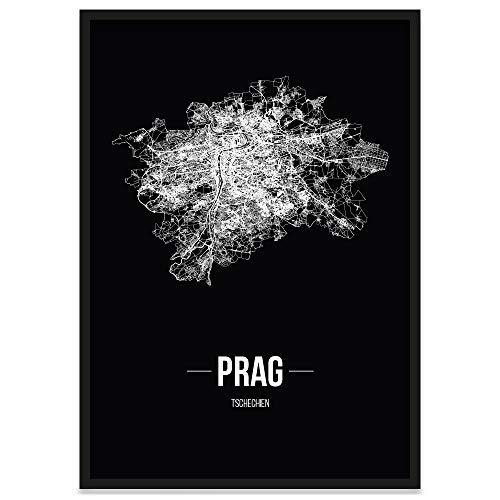JUNIWORDS Stadtposter, Prag, Wähle eine Größe, 40 x 60 cm, Poster mit Rahmen, Schrift B, Schwarz