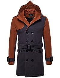 YYZYY Homme Double Boutonnage Trench Coat Manteau Long Cintré en À Capuchon  Veste Hiver Automne Parka Mens Hooded Jacket… 2e75e4c060c8