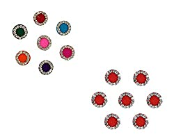 Latest Designer Round Red & Multicolour Bindi Diamond Collection Stone Bindi 7 Pieces Each( Combo of 2) By Instabuyz