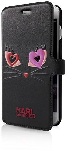Karl Lagerfeld KLFLBKP7CL2BK Choupette in Love 2 PU Embossed Booktype Schutzhülle für Apple iPhone 7 Schwarz