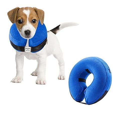 Emwel aufblasbares Halsband für große Hunde, Aufblasbare Halskrause, Bequemer Haustier-Kragen für Genesung, aufblasbares einfaches Hunde-Halsband, verstellbar Hundehalsband, waschbar (M)