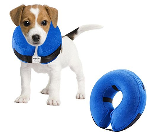 Emwel aufblasbares Halsband für Klein Hunde und Katzen, Aufblasbare Halskrause, Bequemer Haustier-Kragen für Genesung, aufblasbares einfaches Hunde-Halsband, verstellbar Hundehalsband, waschbar (S) -