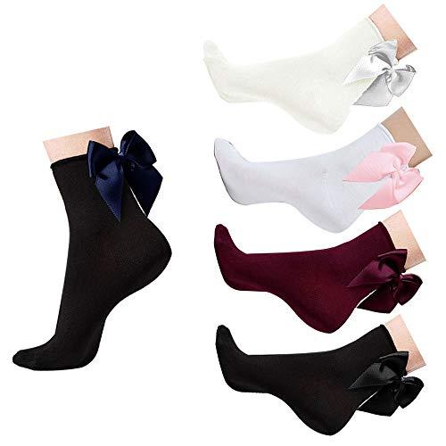 Mangotree Vintage Lace Söckchen Ruffle Rüschen Fashion Ladies Princess Mädchen Geschenk (5 Paar Socken mit Bogenknoten) - Rüschen-söckchen Damen