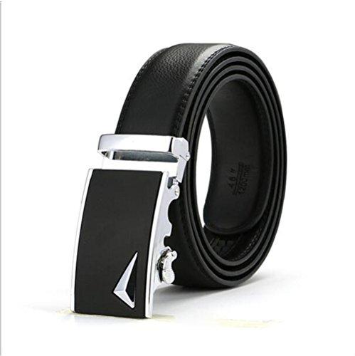 Xpassion Cinturón de Cuero para Hombre Cinturones Hebilla Automática 3 5cm Ancho