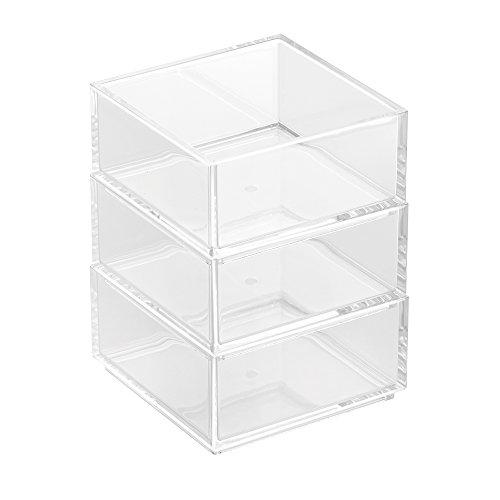 InterDesign Clarity Aufbewahrungsbox, kleine Stapelbox aus Kunststoff, 3er-Set Kosmetik Organizer, durchsichtig