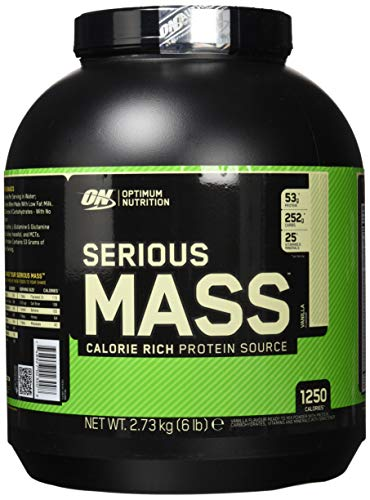 Optimum Nutrition Serious Mass Weight Gainer (mit Kohlenhydrate, Whey Protein Pulver, Vitaminen, Kreatin und Glutamin. Eiweisspulver von ON) Vanilla, 8 Portionen, 2,72kg