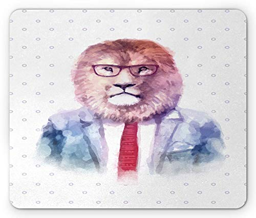 Quirky Mouse Pad, Watercolor Style Lion in Suit with Glasses Hipster Geek Fashion Character Print, Standard Size Rectangle Non-Slip Rubber Mousepad, Multicolor