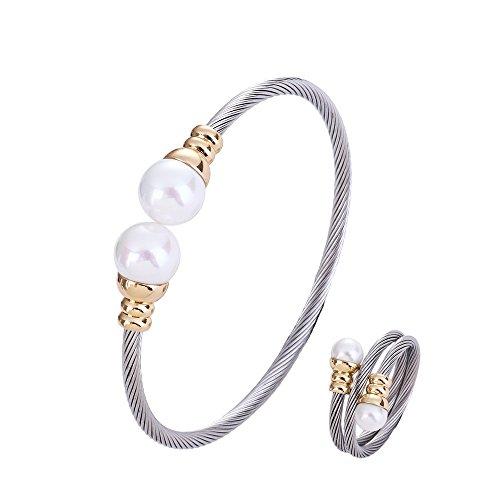 Regolabile in acciaio INOX ritorto cavo del braccialetto del polsino Silvery anello con shell perla gioielli set per le donne