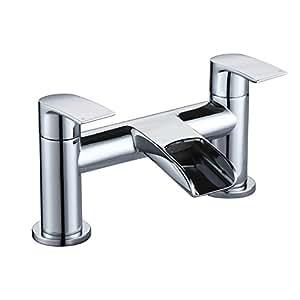 [Waterfall Bath Tap] Hapilife Modern Bathroom Tub Monobloc Bath Filler Mixer Chrome Double Lever