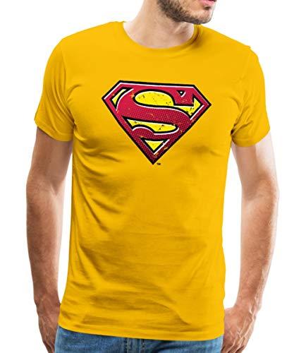 Spreadshirt DC Comics Superman Logo Used Look Männer Premium T-Shirt, 3XL, Sonnengelb