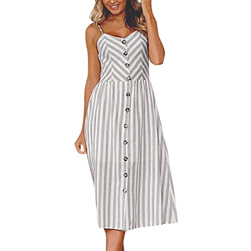 (Maxikleider Sommer,SANFASHION SANFASHION Damen Mode Sommerknöpfe Striped Off Schulter Ärmelloses Prinzessin Kleid (S, Grau))