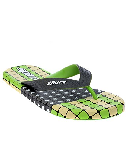 Sparx Men's SFG2041 Series Grey Fluorescent Green Synthetic Running Slippers 7UK  available at amazon for Rs.335