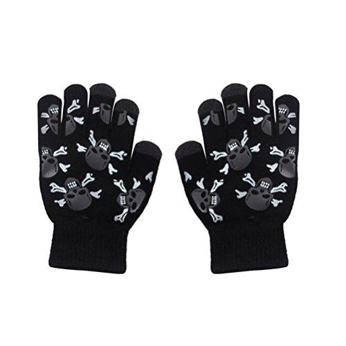 BESTOYARD 1 Paar Sensitive Touchscreen Handschuhe Schädel Köpfe Winter Winddichte Handschuhe für Smartphone Reiten Radfahren -