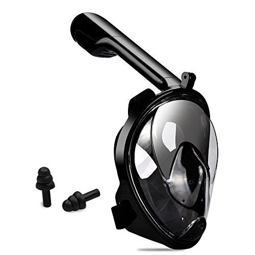HWeggo Schnorchelmaske Vollmaske,Tauchmasken Easybreath Anti-Fog/Anti-Leak tauchmaske 180° sichtfeld für Erwachsene,Schwarz L/XL