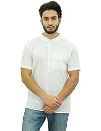 Atasi Cuello Camisa de La Ropa Étnica Algodón de Manga Corta de Los Hombres de Mandarín