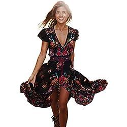 Vestido para Mujeres - Rcool - Imprimen de Manga Larga Boho Vestido De Partido Retro Floral Del Partido Del V-Cuello Del Palacio (L, Floral)