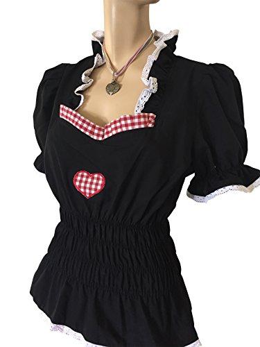 Blusen Damen Trachtenblusen Blusen Schwarz Herz Rot Business 48 Oktoberfest Freizeitblusen