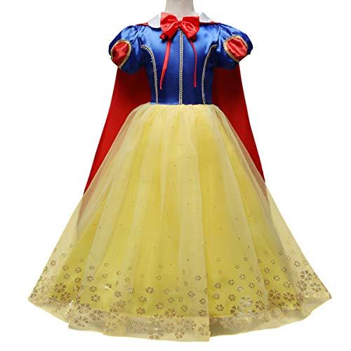 FYMNSI Kinder Mädchen Prinzessin Schneewittchen Kostüm Tüll Maxikleid Mit Umhang Märchen Snow White Cosplay Karneval Fasching Weihnachten Halloween Geburtstag Party Verkleidung Outfit Set 4-5 Jahre