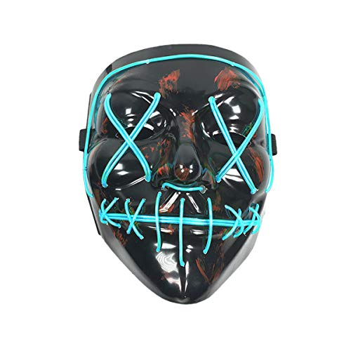 Wei Xi Halloweenmaske, beängstigende Cosplay-LED-Beleuchtung, für Festivals, Partys, Halloween, Kostüme blau