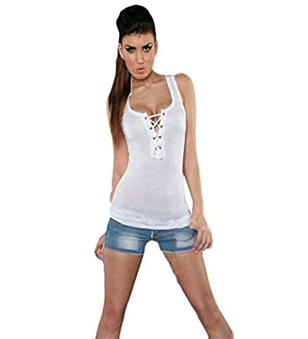 CYBERRY.M Women Bandage Tank Top Summer Sexy Lace Halter Top Fashion Sleeveless Camisole (M, Blanc)