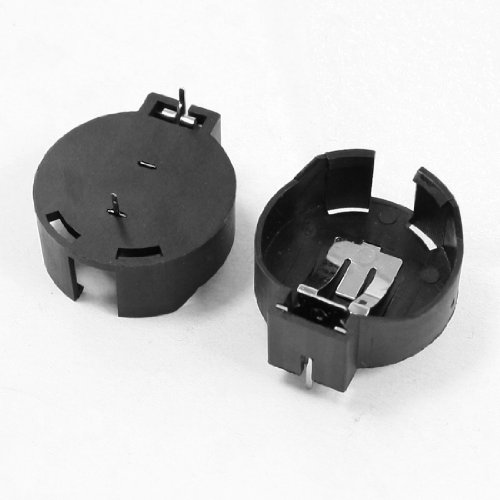 sourcing map Lot de 2 piles bouton au Lithium CR2477 Douille porte-batterie Noir