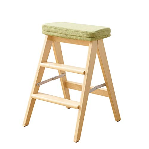 S&RL Hocker Stuhl Sitz Schuhbank Hocker aus Holz 3-Stufig Niedriger Hocker Erwachsener Sofa Hocker Ändern Schuhe Hocker Klettern Fuß Hocker, Green -