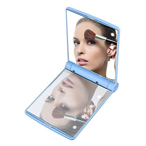 Empfindlicher kosmetischer Spiegel Tragbarer Make up Klappspiegel High Definition Clarity Cosmetic Mirror Für Die Reise, Schönheit Perfektes Geschenk für Frauen Mädchen (Color : Bule) (Tragbarer Make-up-spiegel)