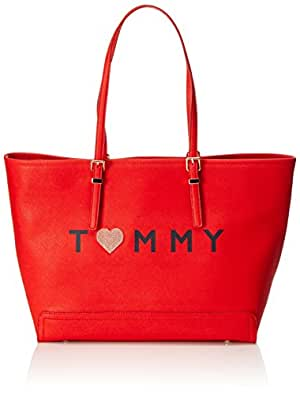 Tommy Hilfiger Honey Ew Tote Love - Borse Donna, Rot (Fiery Red), 13x32x48 cm (L x H D)