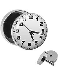 Treuheld   Ohrstecker zum Schrauben - Uhr-Zeit - schwarz-weiß - Motiv  Fake-Plug Ø 10mm Silber - Edel-Stahl Ohr-Ringe - Chirurgen-Stahl 316L… c5495e76cd