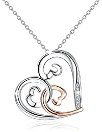 Jewellery for Women Necklaces Pendant 925 Sterling Silver Love Heart Necklace with Chain 18""