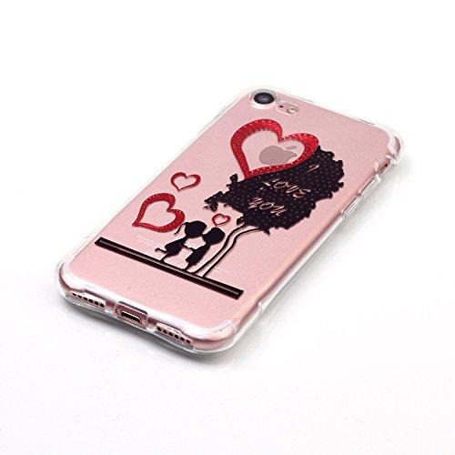 iPhone 7 Coque,iPhone 7 Gel Motif métallique TPU Case Feeltech Apple iPhone SE Case Silicone Clair Ultra Mince Premium Bumper iPhone 5S Housse Légère Étui Protecteur Transparente Souple Conception Fro Je t'aime arbre