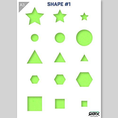 Sterne Würfel Kreis Dreieck Hexagon Formen Schablone - Karton - A3 42 x 29,7 cm - Höhe oben links Stern 6 cm - wiederverwendbare kinderfreundliche Schablone für Malerei, Handwerk, Wände und Möbel