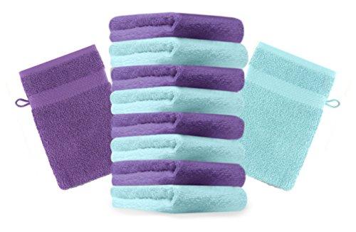 Betz Lot de 10 gants de toilette Premium lila et turquoise, taille: 16x21 cm