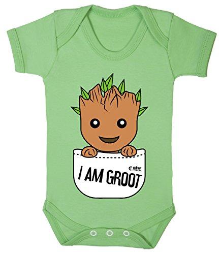 Colour Fashion Groot Im Tasche Superheld Lustig Kostüm Baby Body 100% Cotton 0-24 - Grün, 0-3 ()
