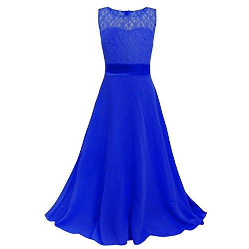 L-Peach Kinder Mädchen Kleid mit Chiffon Spitze Einfarbig Kleid für Hochzeit Feiertag Party...