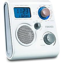 Nikkei nwp10we impermeable ducha radio FM/MW con tiempo de reloj, reloj despertador y indicador de temperatura color blanco