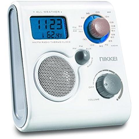 Nikkei nwp10we impermeable ducha radio FM/MW con tiempo de reloj, reloj despertador y indicador de temperatura color