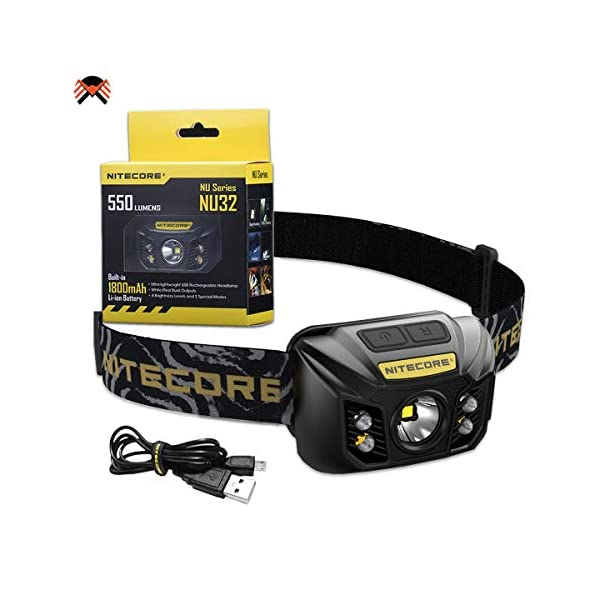 Nitecore NU32 Head Torch USB Rechargeable LED Super Bright 550lm /w Red Light IP67