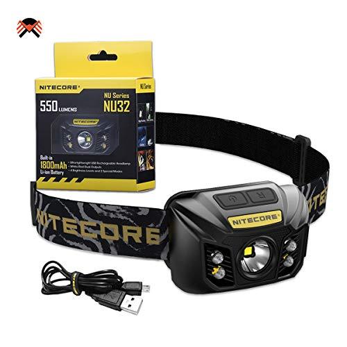 Nitecore NU32 Stirnlampe LED Wiederaufladbar USB 550 Lumen Stirnlampe Rotlicht fur Joggen Laufen Wandern IP67 Wasserdicht Kopflampe